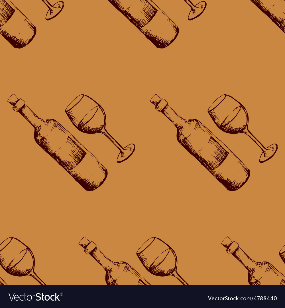 Seamless pattern with hand drawn wine vector | Price: 1 Credit (USD $1)