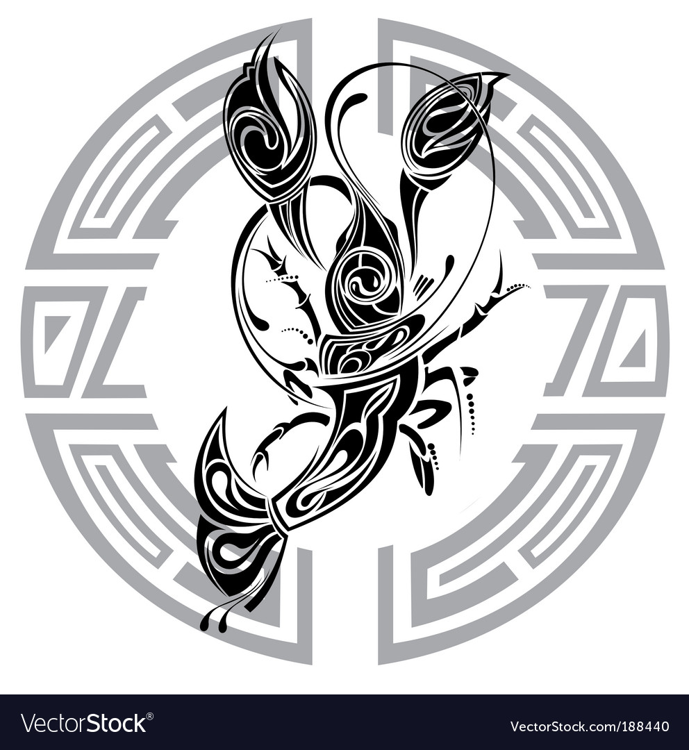 Sign of cancer tattoo design vector | Price: 1 Credit (USD $1)