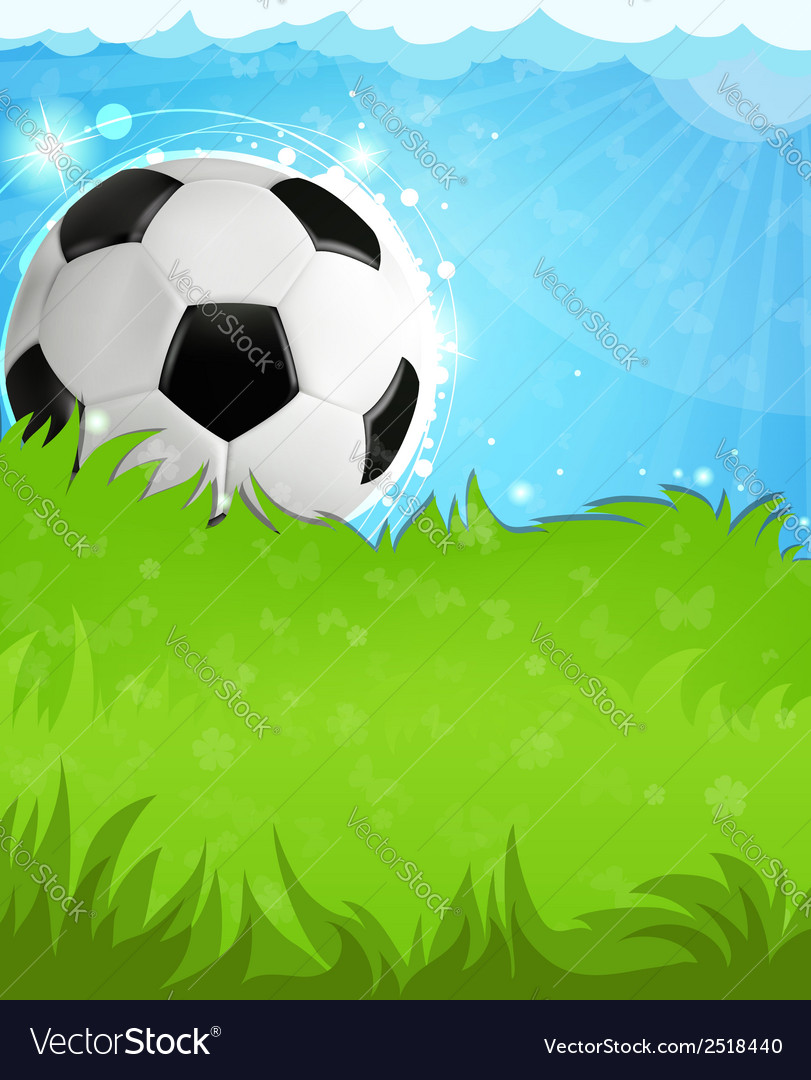 Soccer ball on grass vector | Price: 1 Credit (USD $1)