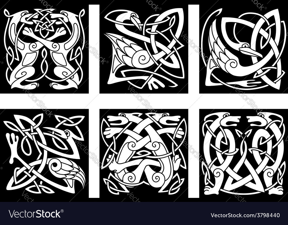 Stylish intricate stylized birds and animals vector | Price: 1 Credit (USD $1)