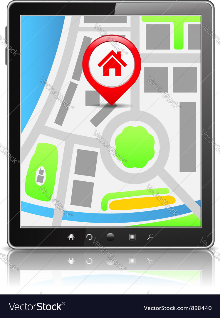 Tablet pc with map vector | Price: 3 Credit (USD $3)