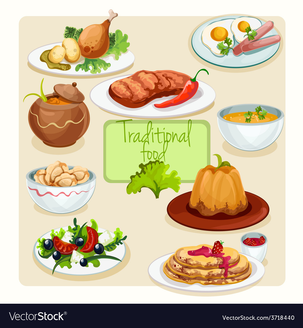 Traditional food dishes set vector | Price: 1 Credit (USD $1)