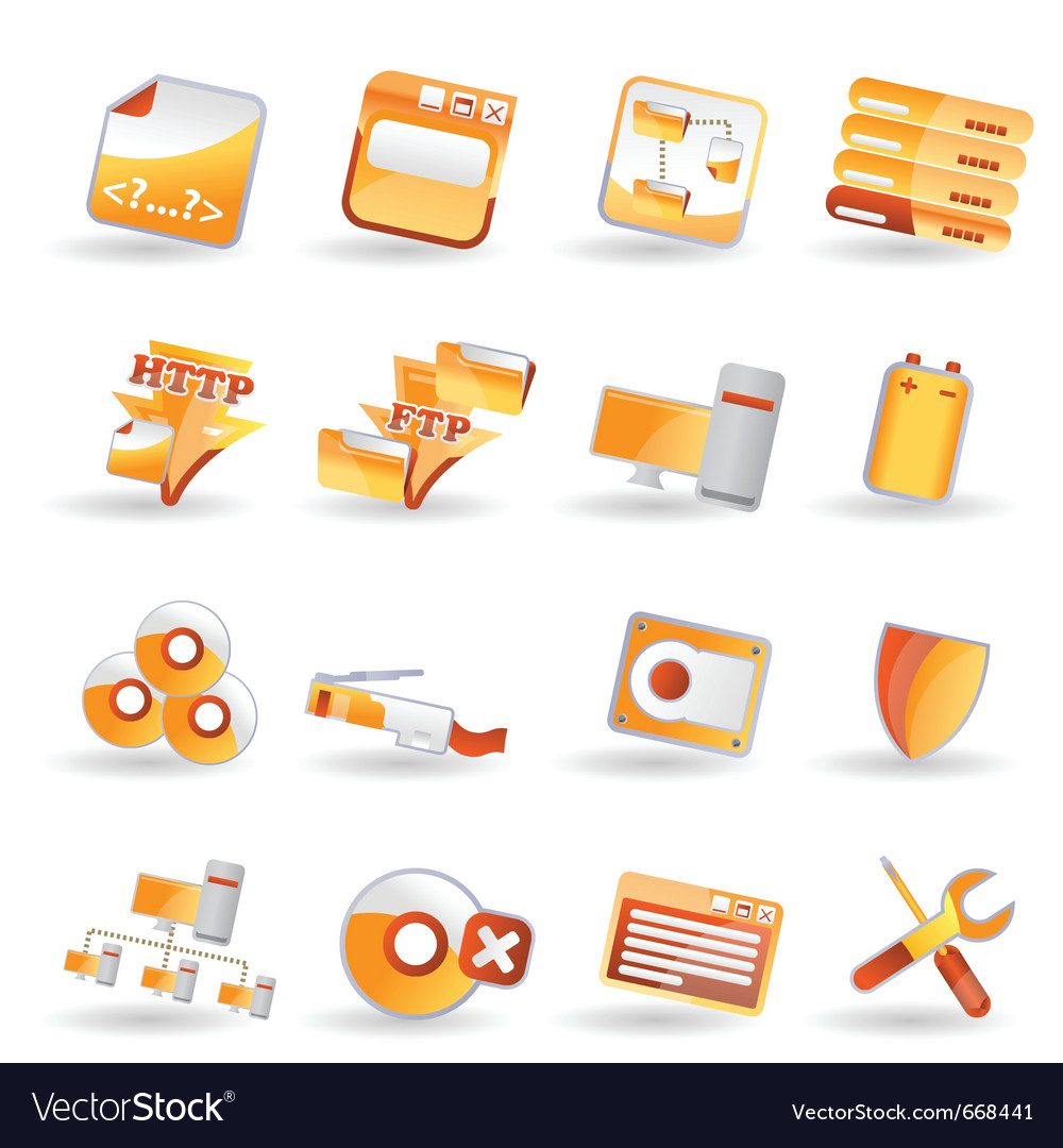 16 detailed internet icons vector | Price: 1 Credit (USD $1)