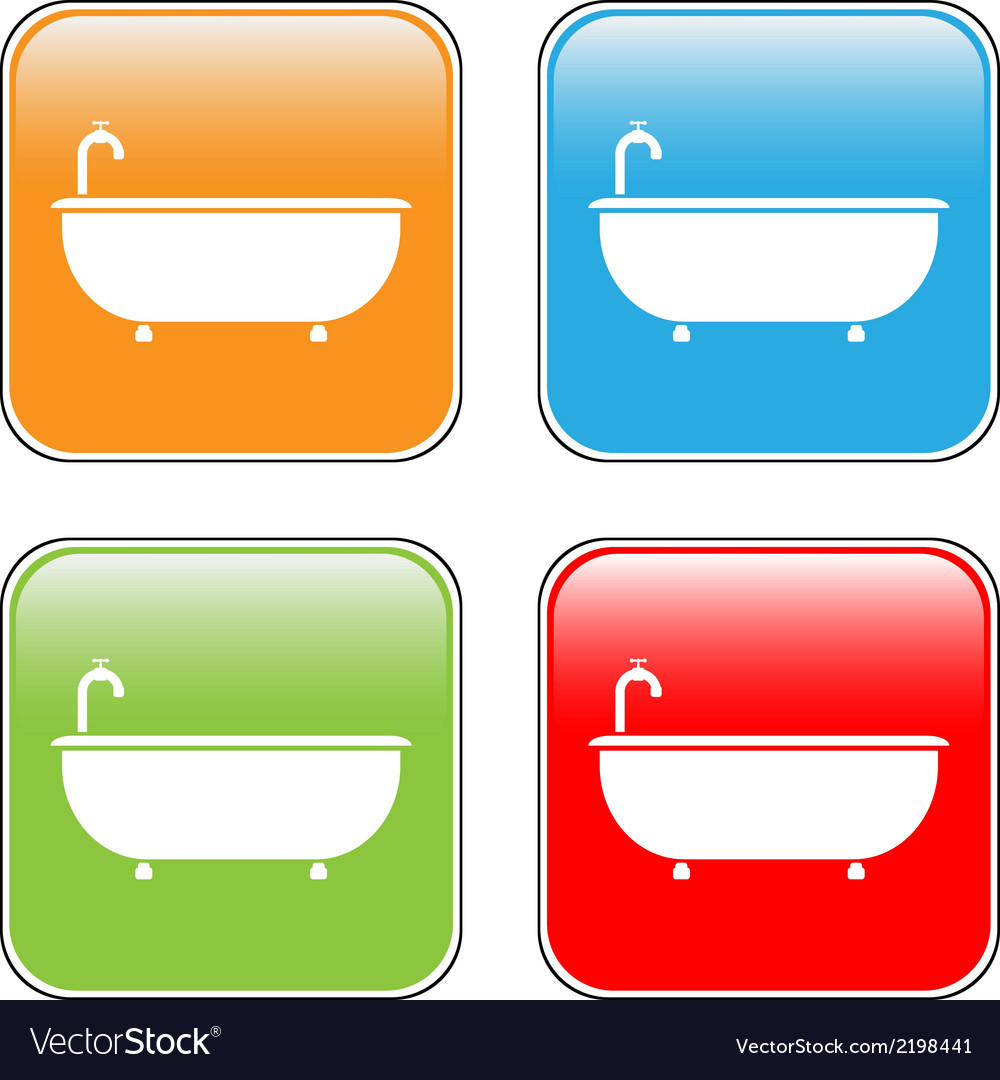 Bathtub icons set vector | Price: 1 Credit (USD $1)