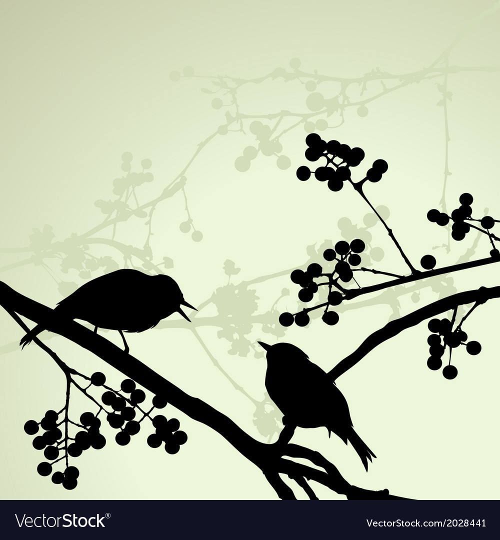 Birds on the branch during the summer day vector | Price: 1 Credit (USD $1)