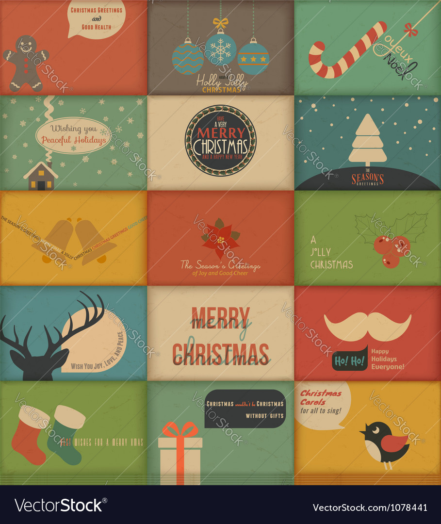 Collection of retro holidays cards vector | Price: 3 Credit (USD $3)