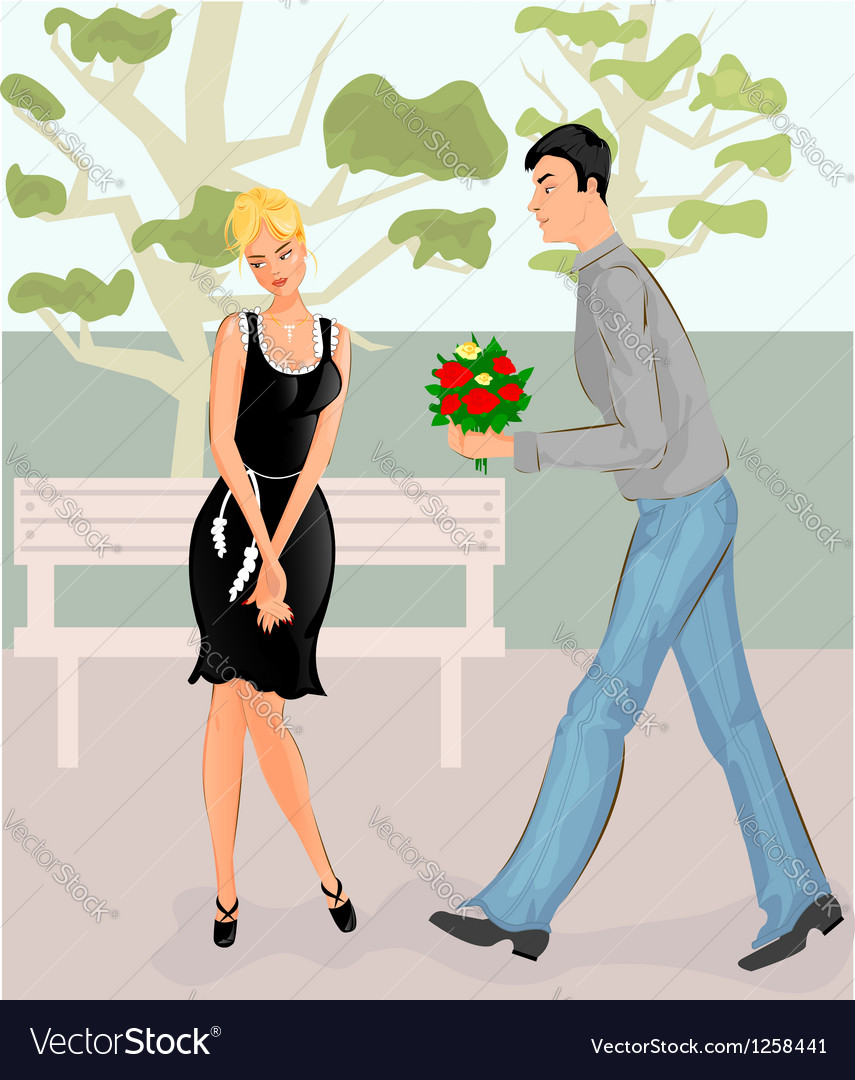 Couple in park vector | Price: 3 Credit (USD $3)