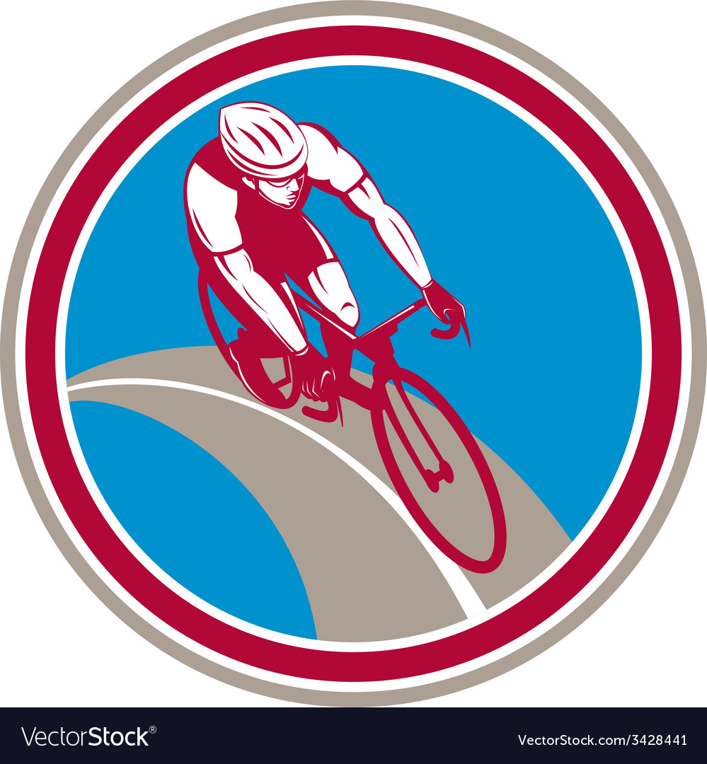Cyclist bicycle rider circle retro vector | Price: 1 Credit (USD $1)