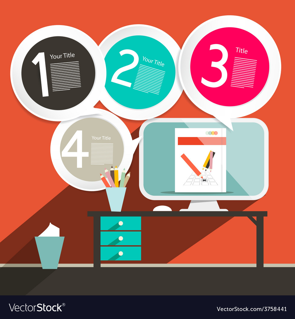 Flat design ui office infographics template  vector
