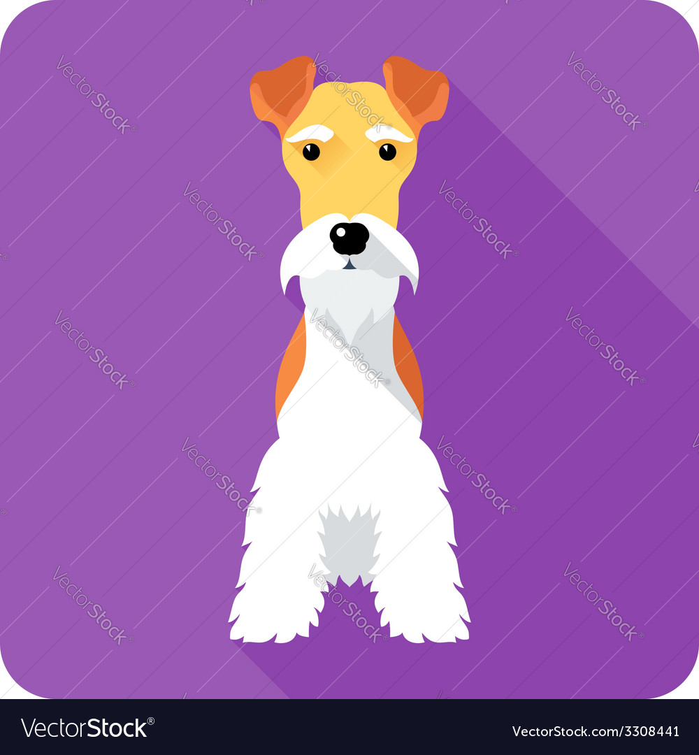 Fox terrier dog sits icon flat design vector   Price: 1 Credit (USD $1)