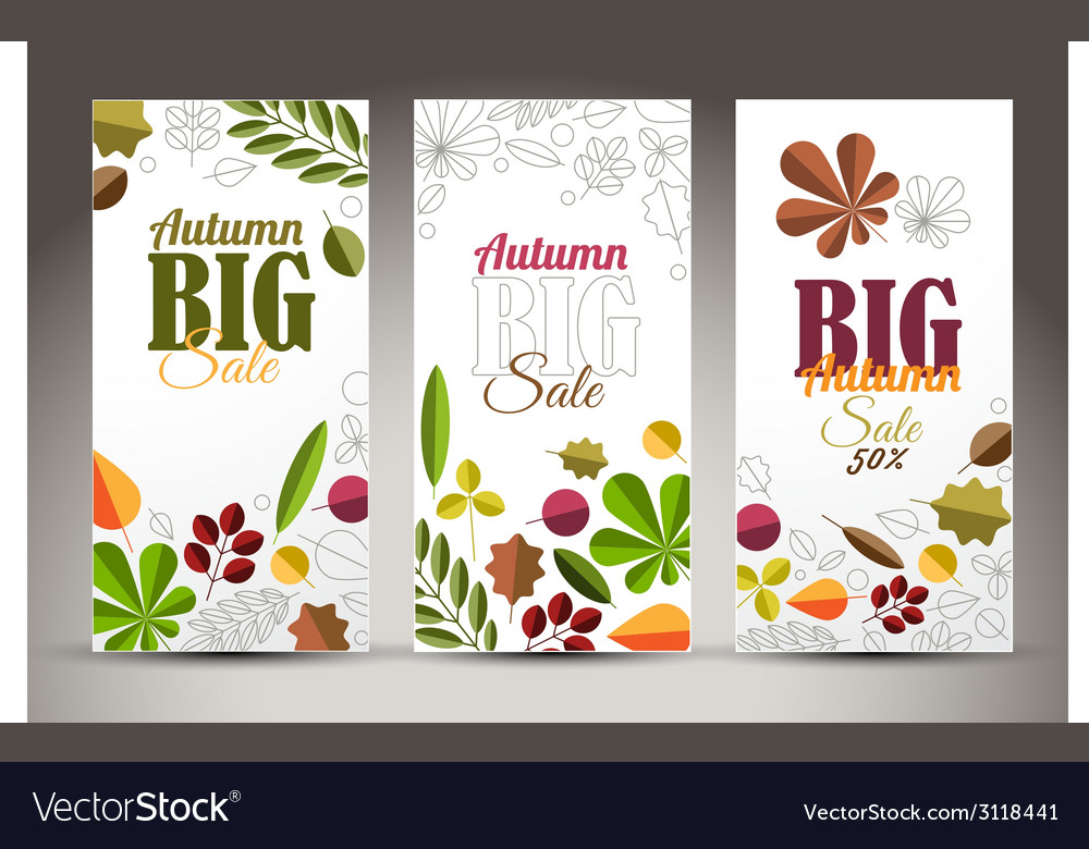 Fresh minimalist fall vertical banners with leafs vector   Price: 1 Credit (USD $1)