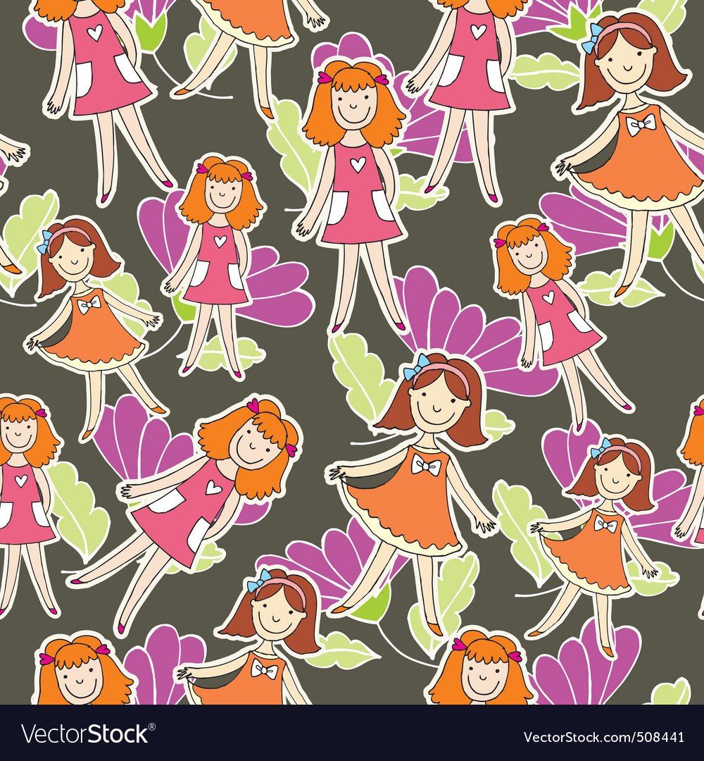 Girlie flower pattern vector | Price: 1 Credit (USD $1)