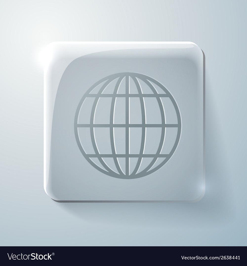 Glass square icon globe symbol vector | Price: 1 Credit (USD $1)