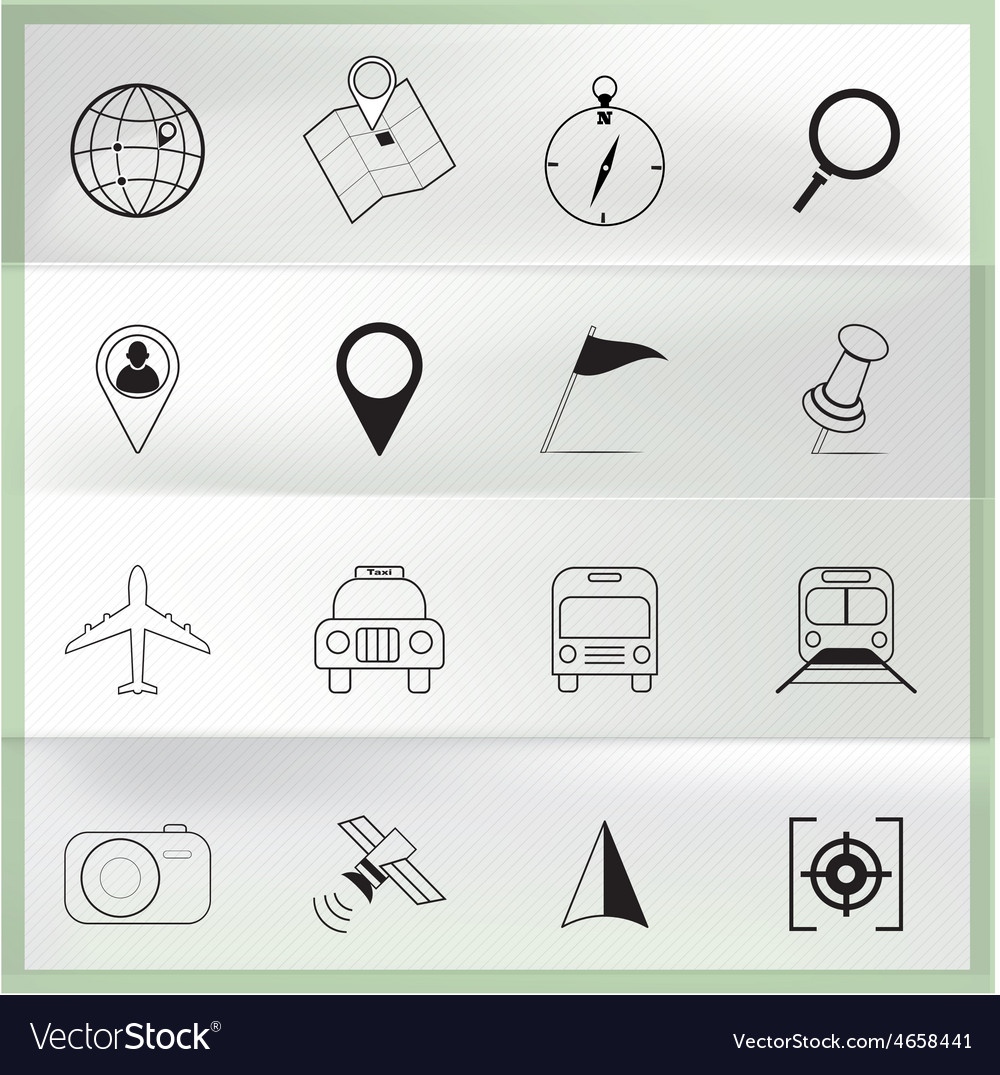 Map and location icons on paper folding vector | Price: 1 Credit (USD $1)