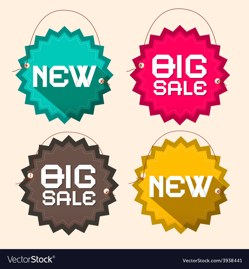 Retro big sale and new title on circle paper vector | Price: 1 Credit (USD $1)
