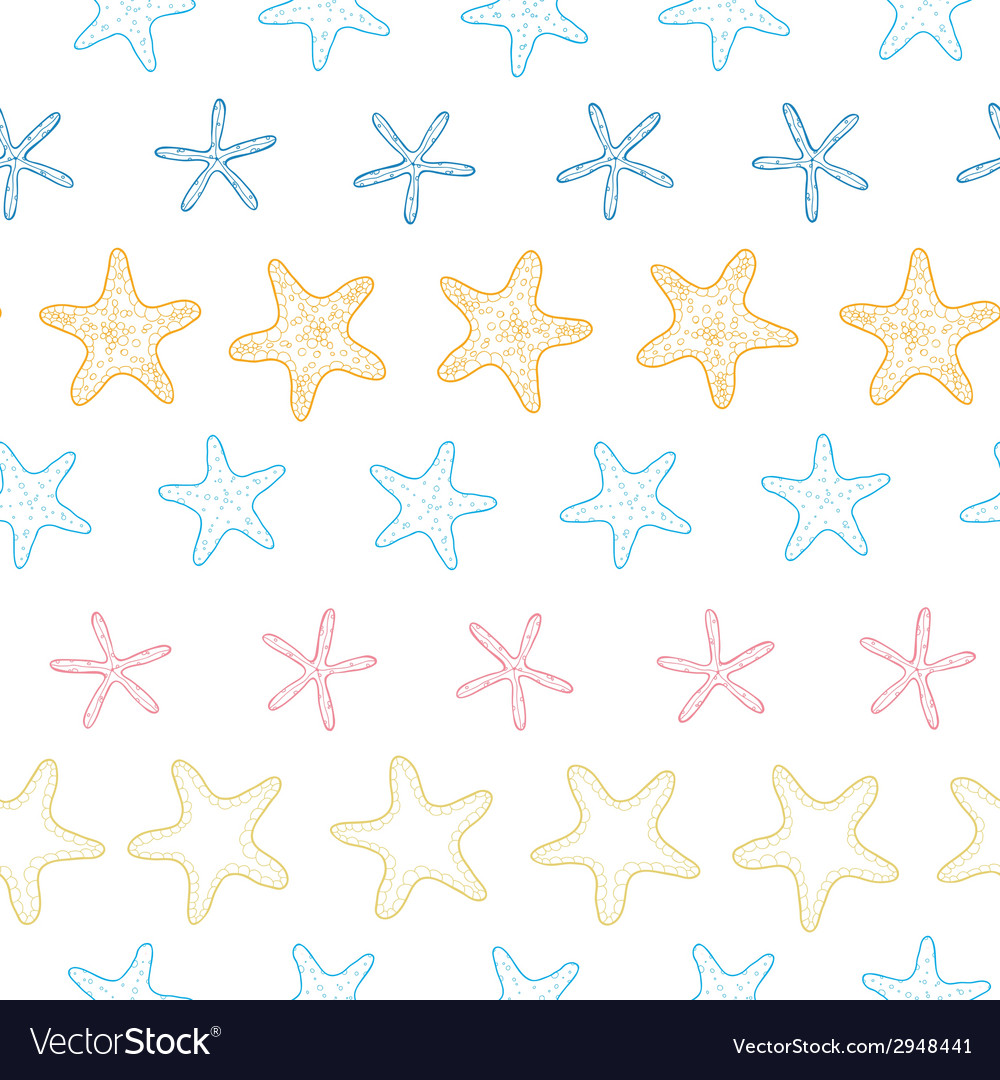 Starfish colorful line art frame seamless pattern vector | Price: 1 Credit (USD $1)