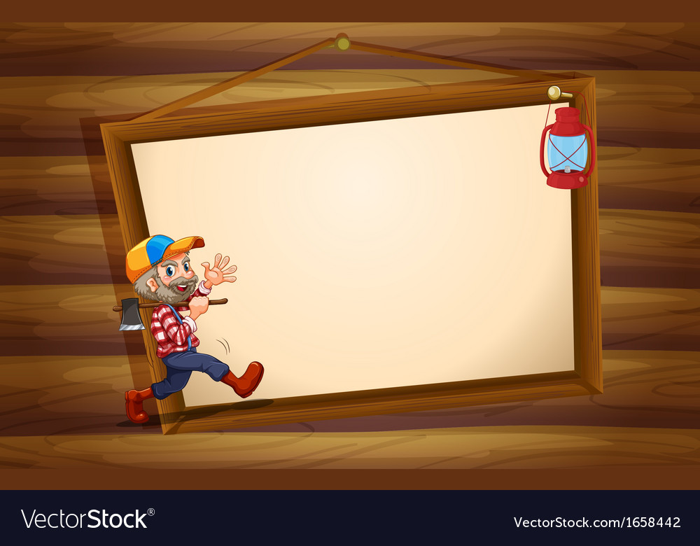 A wooden template with a lumberjack and a lamp vector | Price: 3 Credit (USD $3)