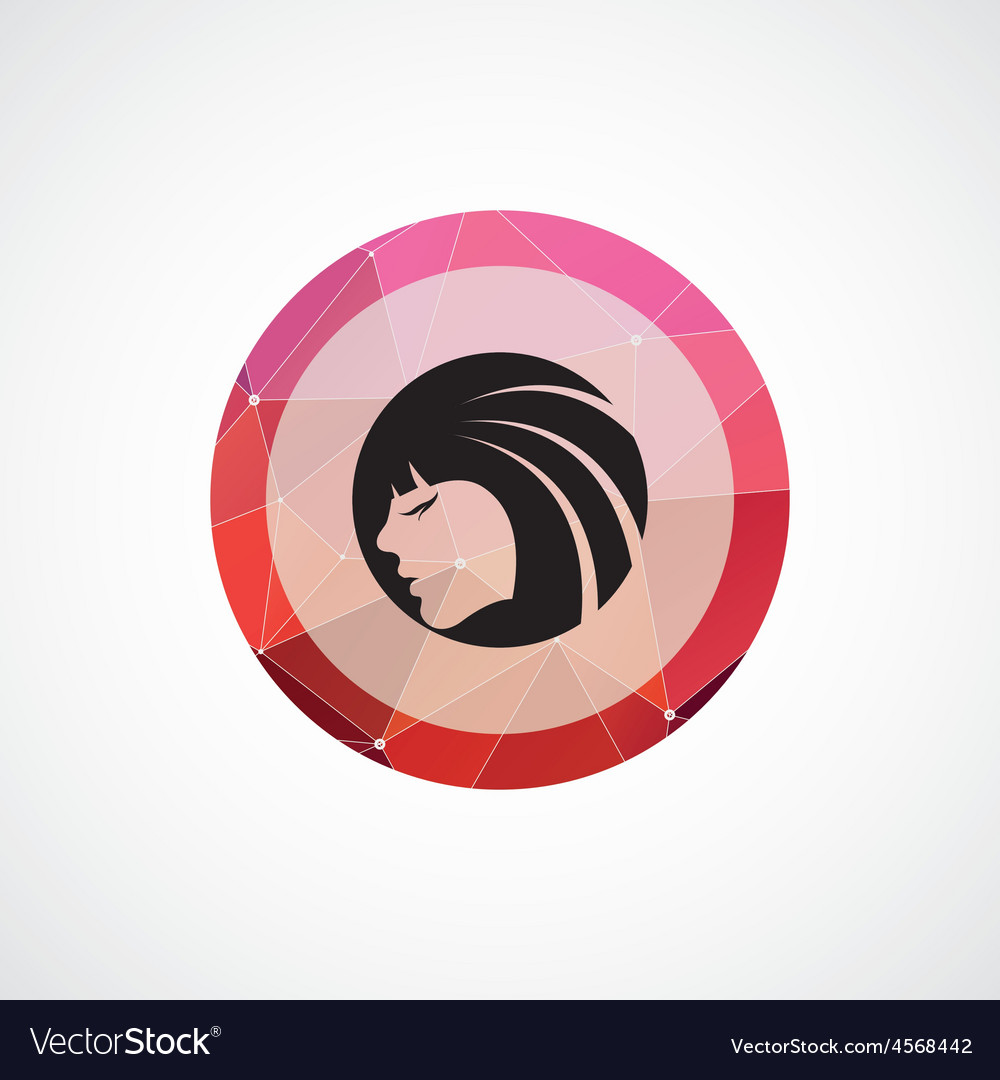 Beauty girl face circle pink triangle background vector | Price: 1 Credit (USD $1)