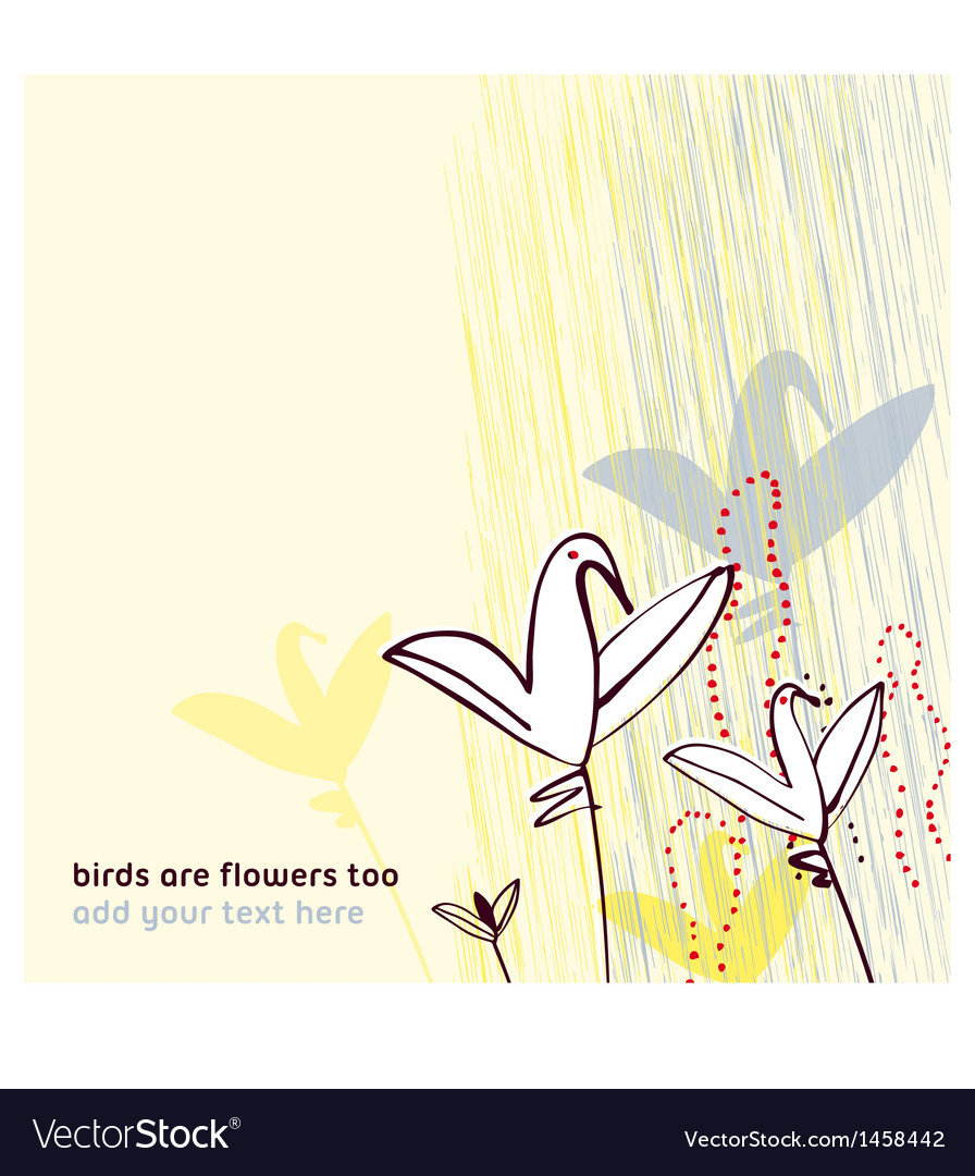 Birds as flowers invitation greeting postcard vector | Price: 1 Credit (USD $1)