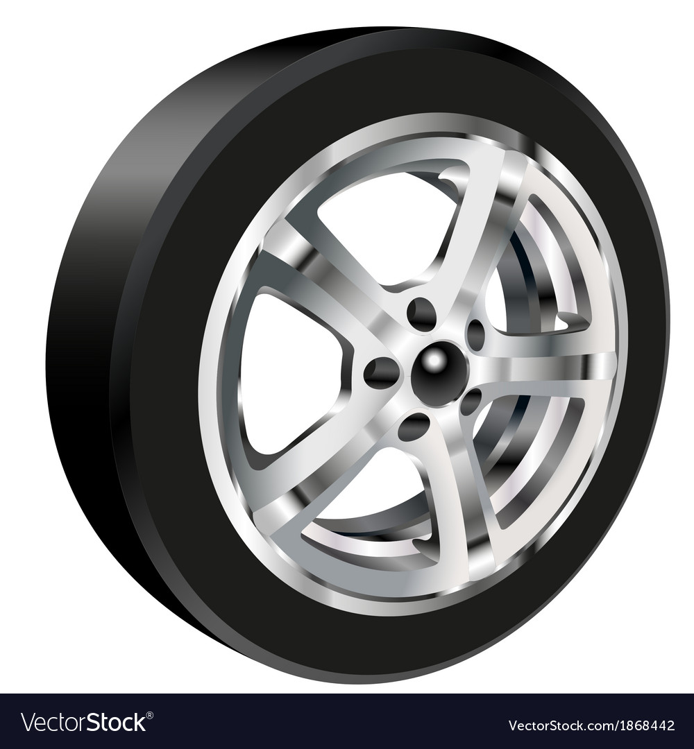 Car wheel with a tire vector | Price: 1 Credit (USD $1)