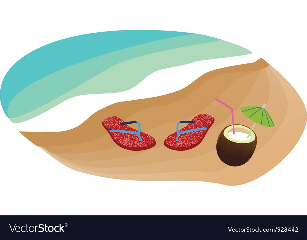 Flip flops and coconut vector | Price: 1 Credit (USD $1)