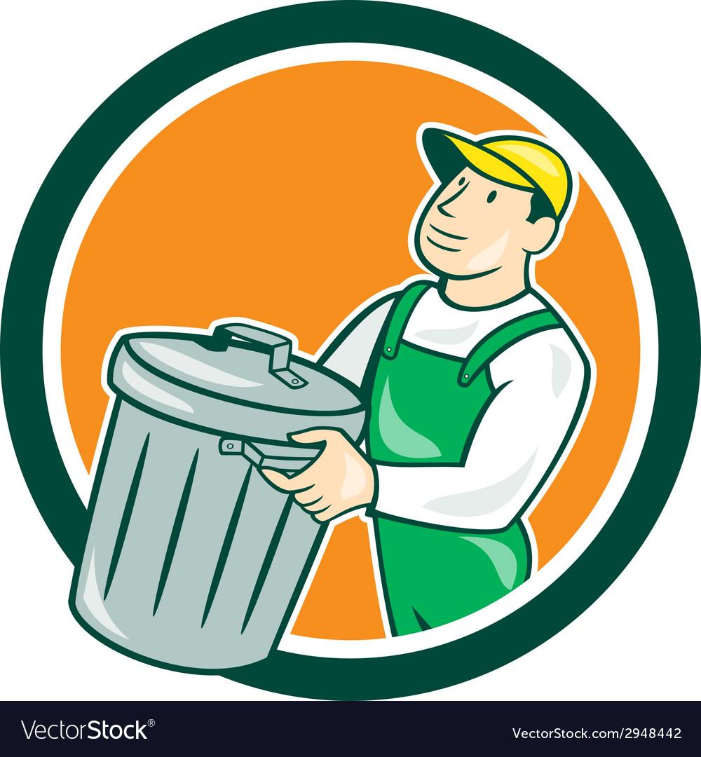 Garbage collector carrying bin circle cartoon vector   Price: 1 Credit (USD $1)