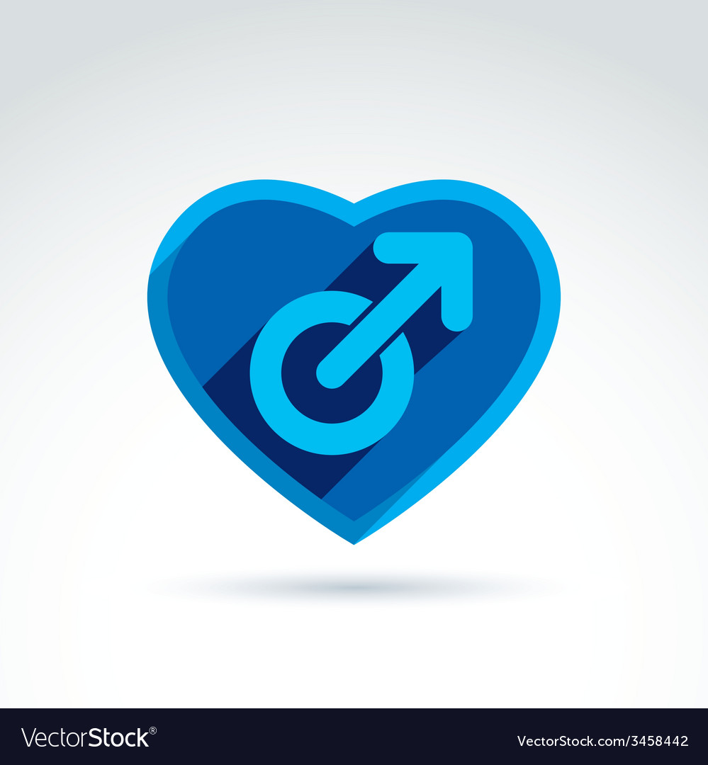 Heart with a blue male man gender symbol lesbian vector | Price: 1 Credit (USD $1)