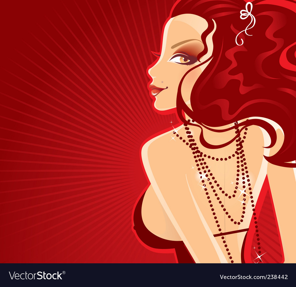Lady in red dress banner vector | Price: 3 Credit (USD $3)