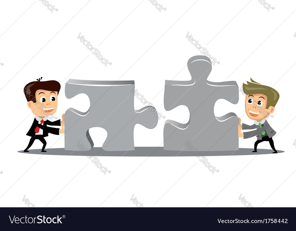 People move puzzle pieces vector | Price: 1 Credit (USD $1)