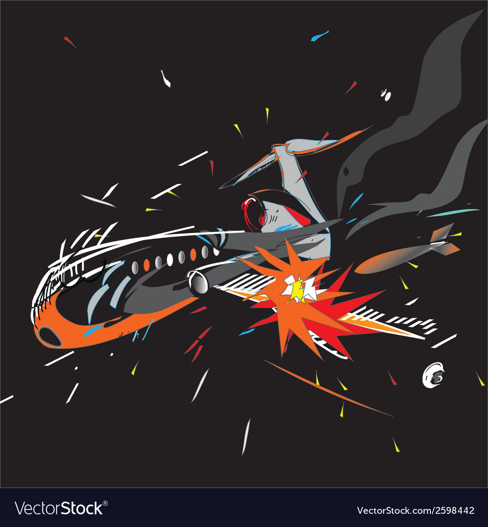 Plane crash black vector | Price: 1 Credit (USD $1)
