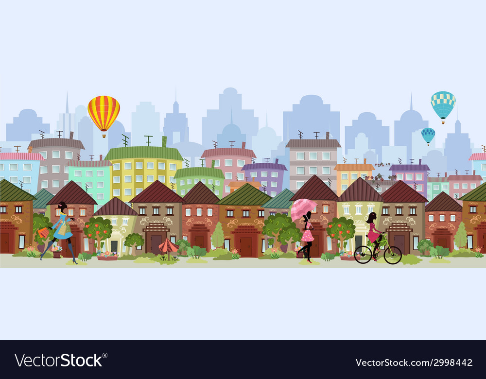 Seamless border with a cityscape vector | Price: 1 Credit (USD $1)
