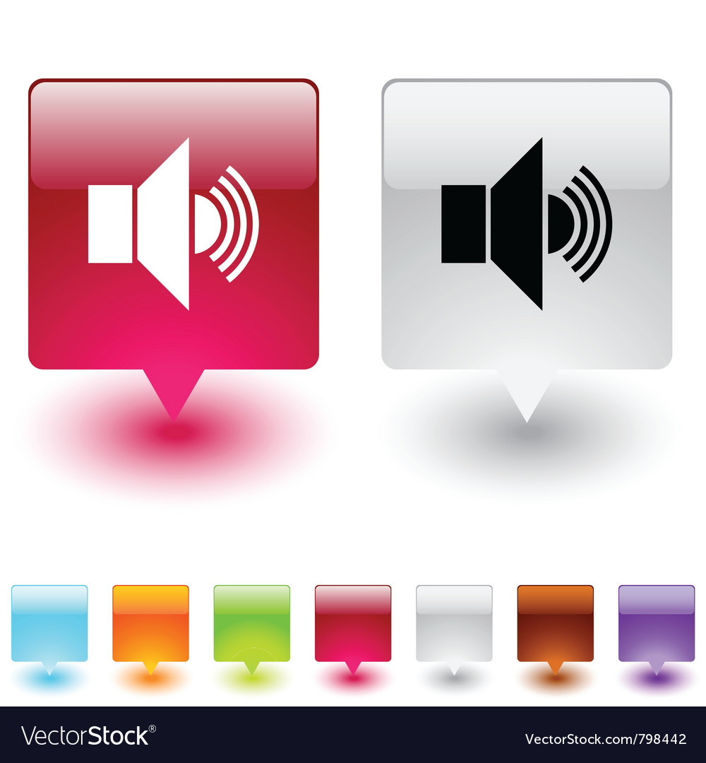 Sound square button vector | Price: 1 Credit (USD $1)