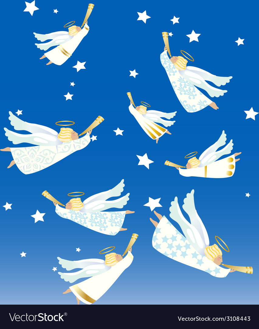 Christmas angels vector | Price: 1 Credit (USD $1)