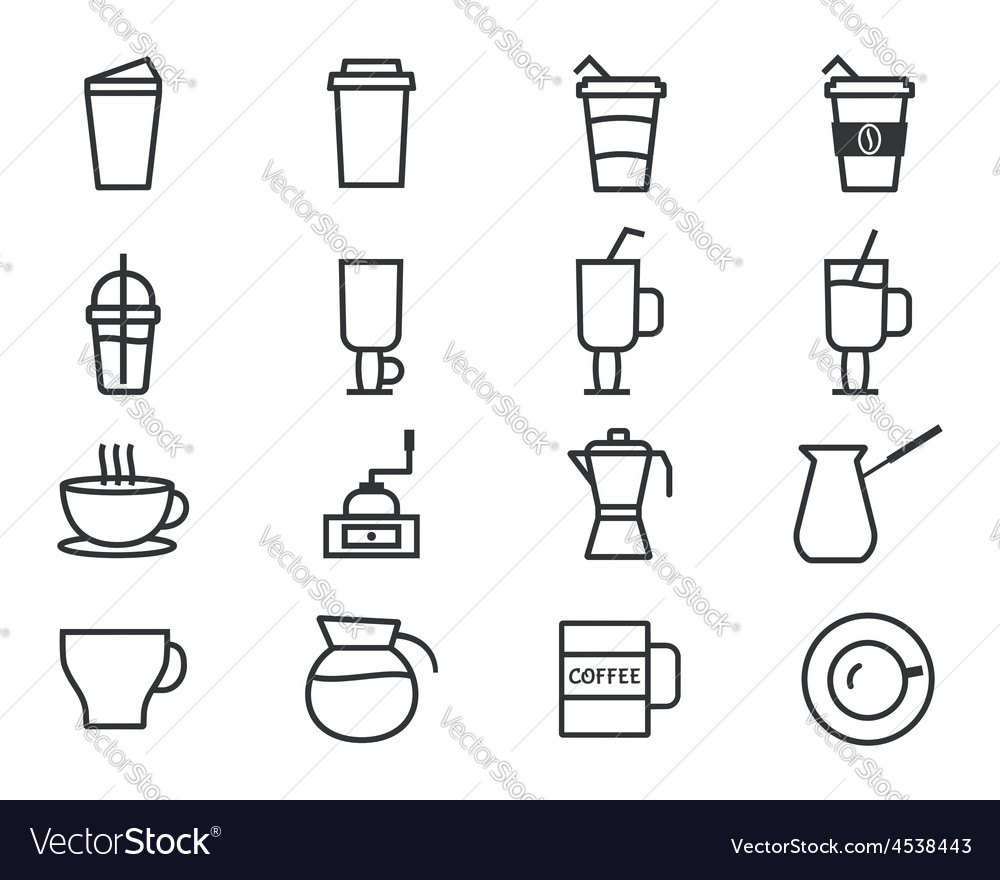 Coffee outline elements vector | Price: 1 Credit (USD $1)