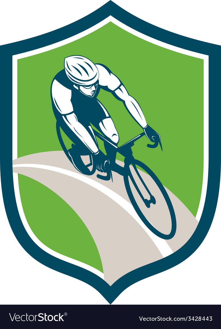 Cyclist bicycle rider shield retro vector | Price: 1 Credit (USD $1)
