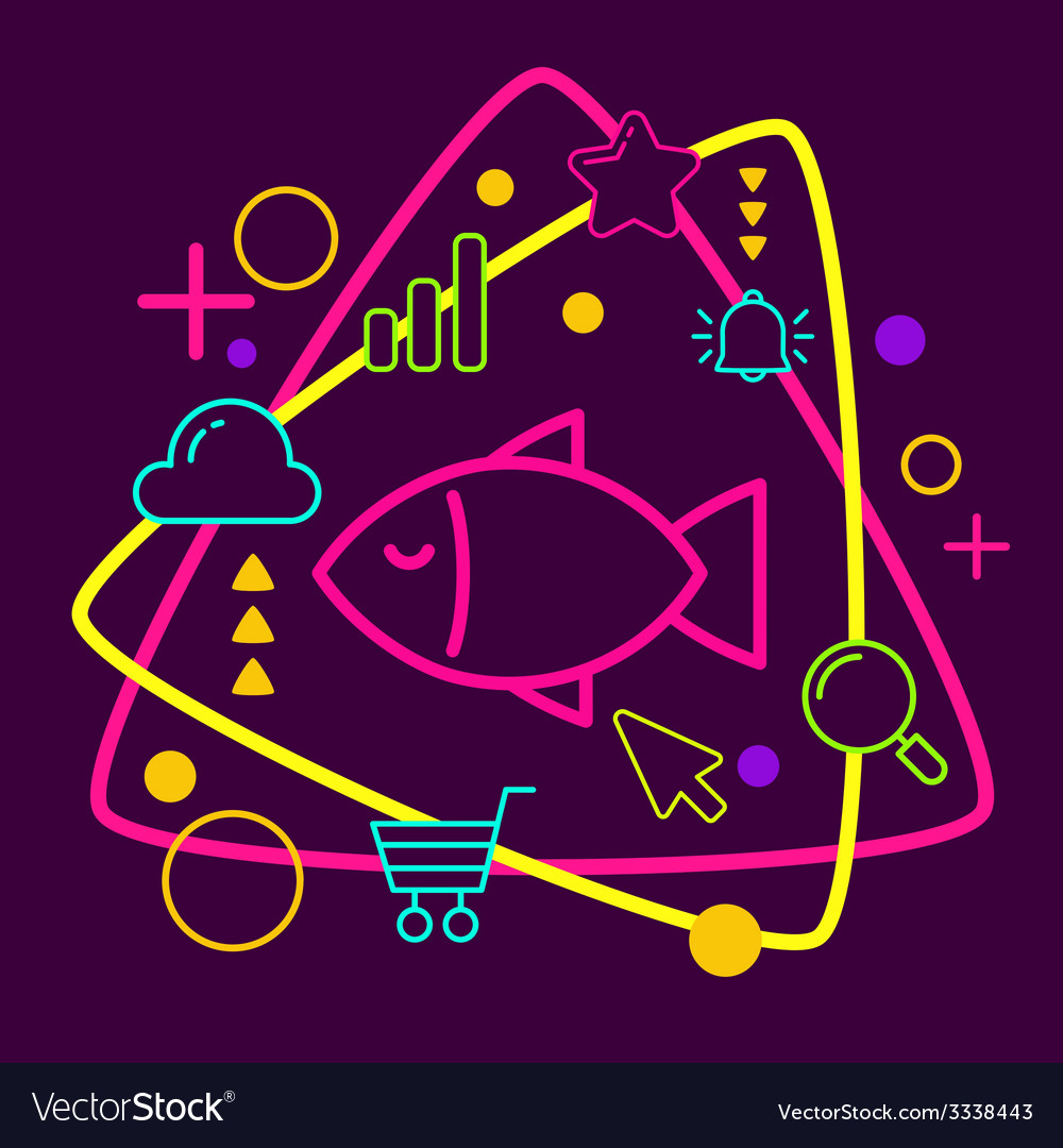 Fish on abstract colorful geometric dark vector | Price: 3 Credit (USD $3)
