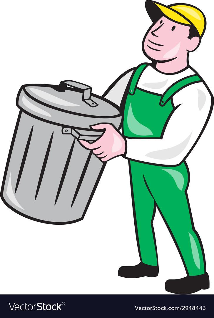 Garbage collector carrying bin cartoon vector | Price: 1 Credit (USD $1)