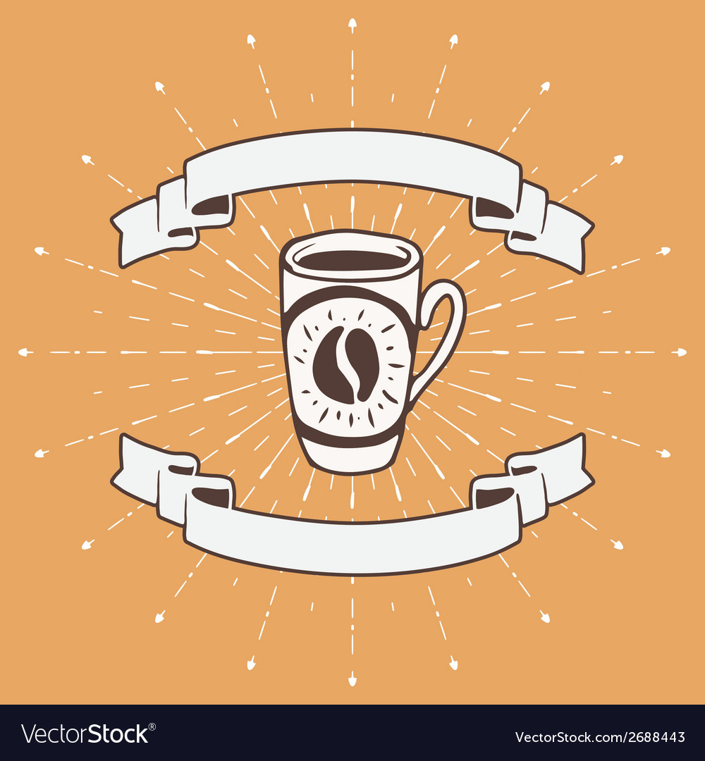 Hand drawn background with coffee mug vector | Price: 1 Credit (USD $1)