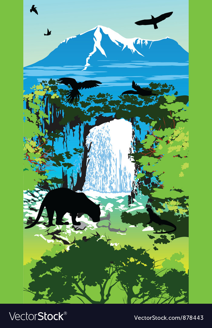 Jungle waterfall vector | Price: 1 Credit (USD $1)