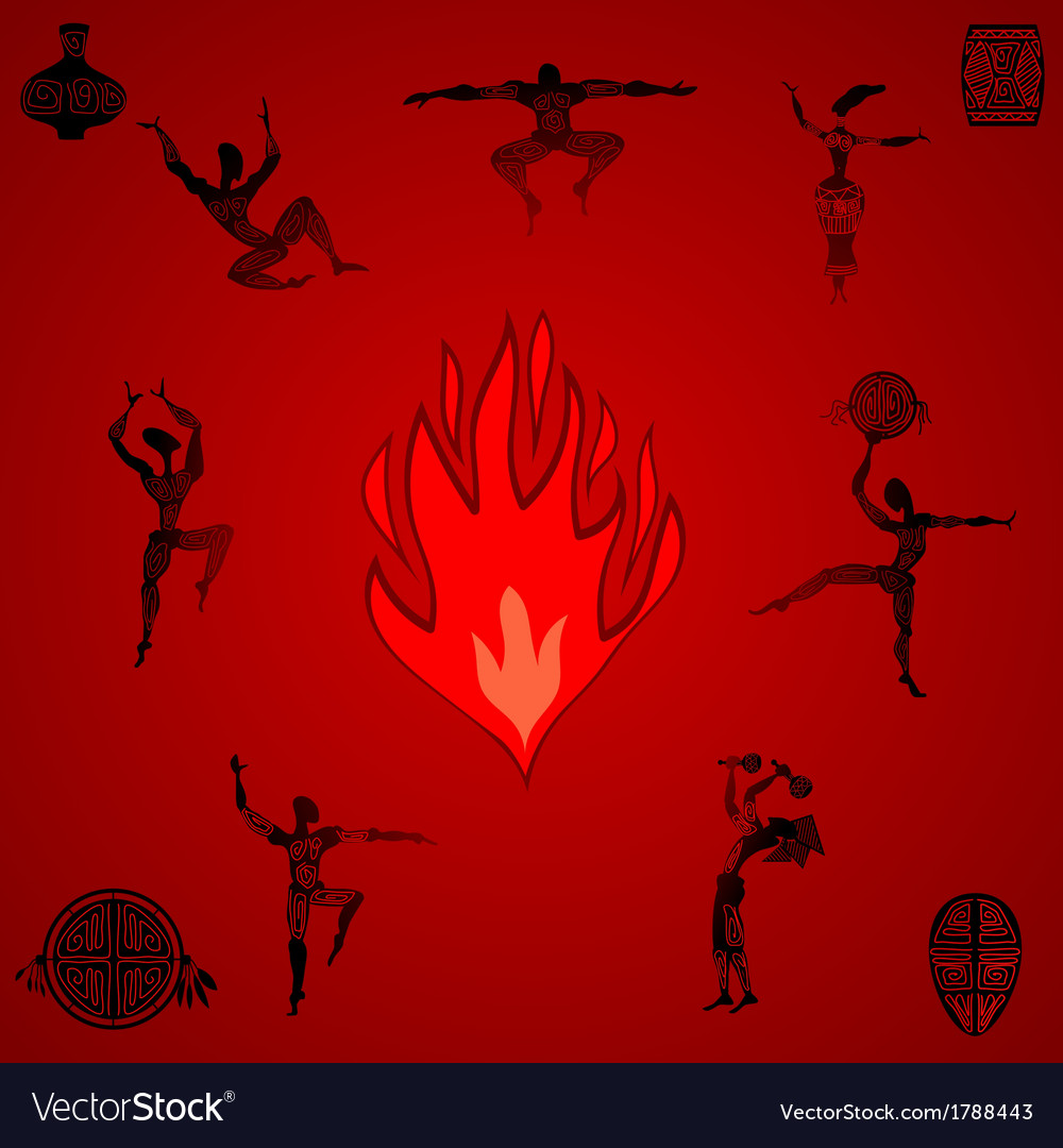 Primitive people dancing by the fire vector | Price: 1 Credit (USD $1)