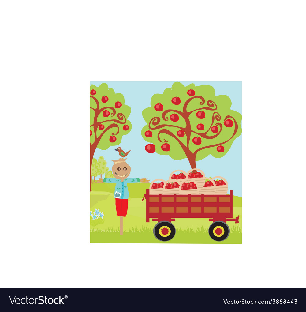 Scarecrow and rural landscape vector | Price: 1 Credit (USD $1)