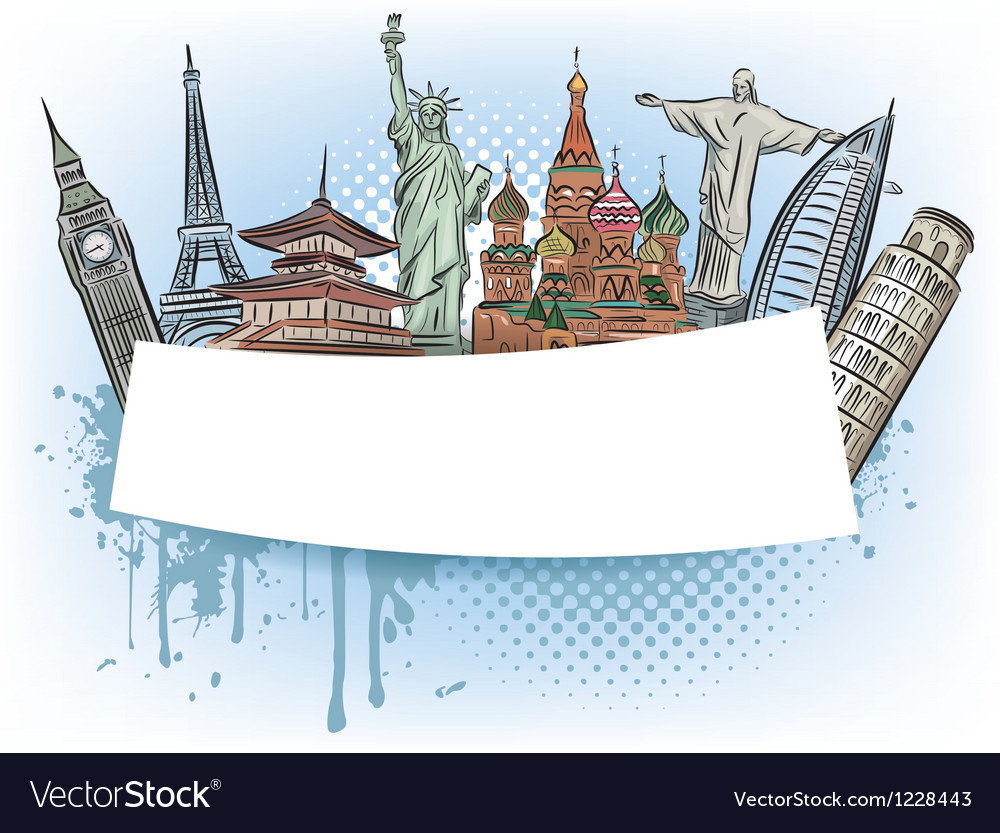 Travel to the wonders of the world banner vector | Price: 3 Credit (USD $3)