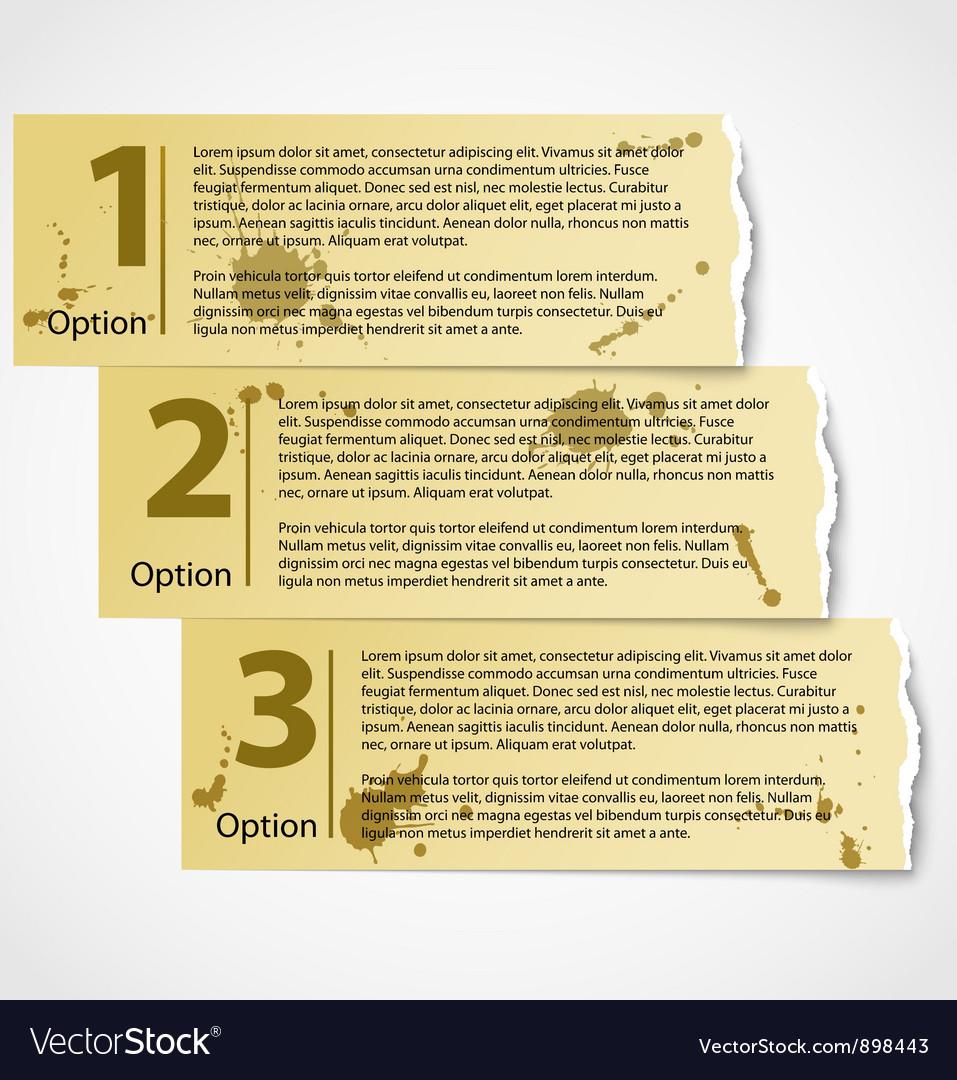 Vintage torn paper progress option labels vector | Price: 1 Credit (USD $1)