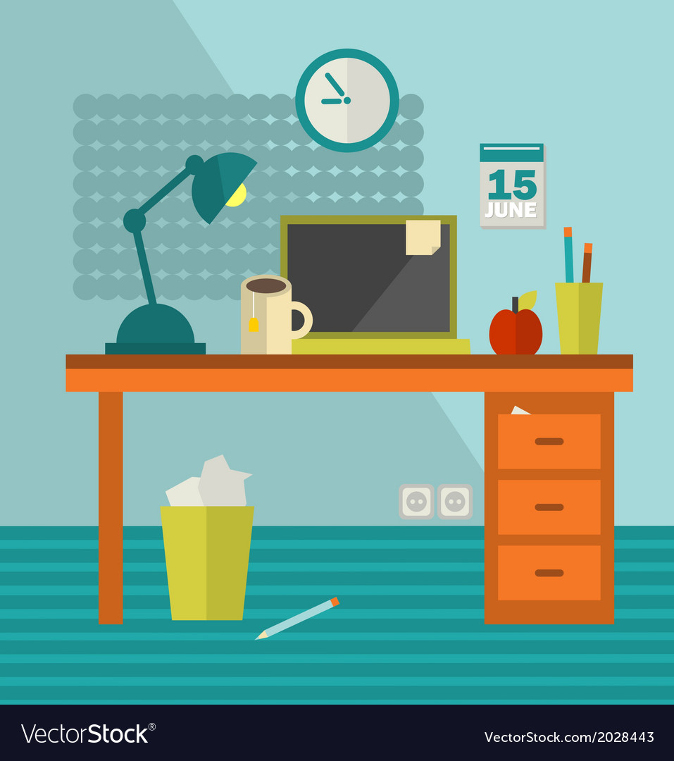 Work place of web designer with unhealthy food vector | Price: 1 Credit (USD $1)