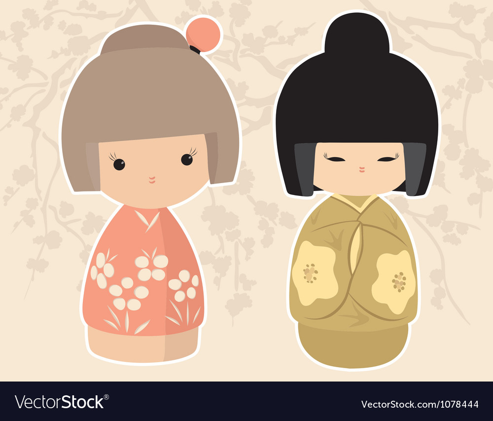 Asian dolls vector | Price: 1 Credit (USD $1)