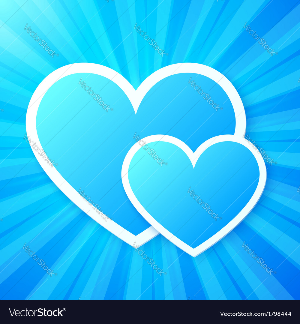 Blue paper hearts on shining background vector | Price: 1 Credit (USD $1)