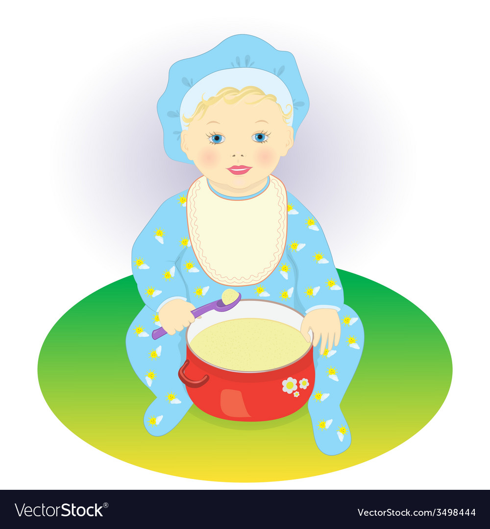 The child eats porridge vector | Price: 1 Credit (USD $1)