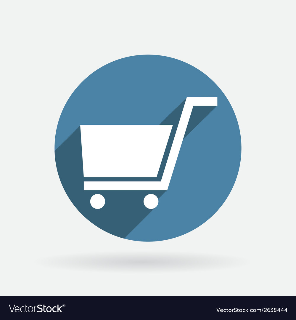 Circle blue icon with shadow cart online store vector | Price: 1 Credit (USD $1)