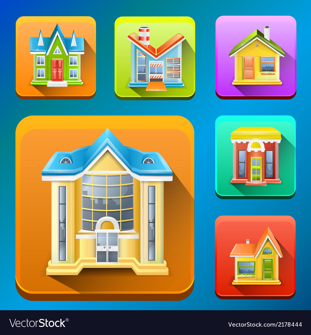 Colorful building icons vector | Price: 1 Credit (USD $1)