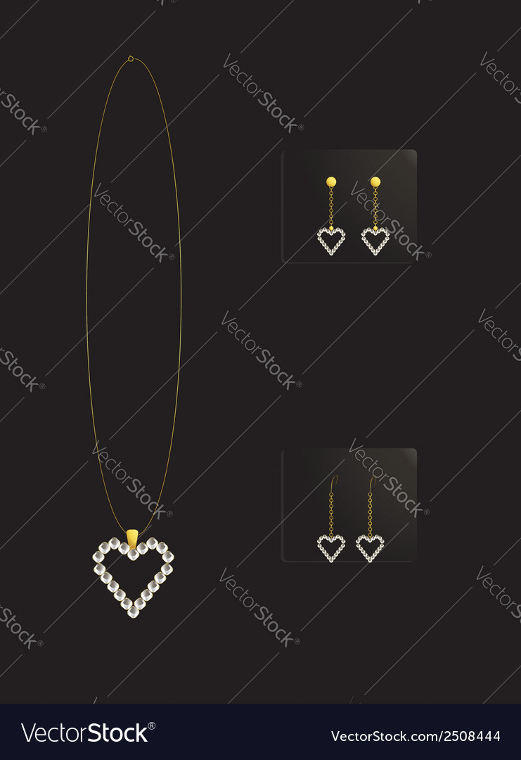 Elegant heart necklace set 2 vector | Price: 1 Credit (USD $1)